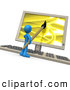 3d Clip Art of a Blue Man Using a Paintbrush on a Flat Screen Computer Monitor to Create an Image on Screen by 3poD