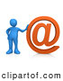 3d Clip Art of a Blue Person Leaning Against a Giant Orange at Symbol on White by 3poD