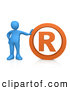3d Clip Art of a Blue Person Leaning Against an Orange Registered Business Trademark Symbol by 3poD
