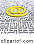 3d Clip Art of a Confusing Maze with an at Symbol in the Middle by 3poD