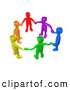 3d Clip Art of a Diverse Bright Circle of Colorful People Holding Hands, Symbolizing Teamwork, Friendship, Support and Unity by 3poD