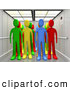 3d Clip Art of a Diverse Set of Colorful People in an Elevator by 3poD