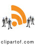 3d Clip Art of a Friendly Group of Businessmen in Matching Suits, Standing by a Large Orange RSS Symbol by 3poD