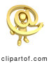 3d Clip Art of a Gold Person Holding a Golden at @ Email Symbol with His Head Peeking Through the Center by 3poD