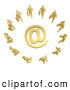 3d Clip Art of a Group of 10 Gold Businesspeople Surrounding a Golden at Symbol by 3poD