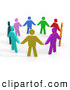 3d Clip Art of a Group of Colorful Circle of Diverse People Holding Hands, Symbolizing Teamwork and Unity by 3poD