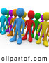 3d Clip Art of a Group of Diverse and Different Colored People Standing in a Group by 3poD