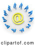 3d Clip Art of a Group of Many Blue Businesspeople Surrounding a Yellow at Symbol by 3poD