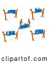3d Clip Art of a Group of Orange People Carrying Dot Org, Edu, Biz, URL, and Eu by 3poD