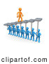 3d Clip Art of a Orange Man Walking Upwards on Steps That Are Held by Blue Men Below, Symbolizing Support, Trust and Group Achievement by 3poD