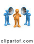 3d Clip Art of a Pair of Two Blue Megaphone Headed People Shouting at an Orange Person, Trying to Influence His Beliefs by 3poD