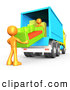 3d Clip Art of a Pair of Two Orange Male Figures Lifting and Loading a Green and Orange Living Room Couch into a Blue Moving Truck, Symbolizing Teamwork by 3poD