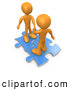 3d Clip Art of a Pair of Two Orange People on Blue Puzzle Pieces, Engaging in a Handshake upon a Deal, Symbolizing Link Exchange and Teamwork by 3poD
