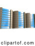 3d Clip Art of a Set of Tall Expensive Blue Server Racks Hosting Services to Customers by 3poD