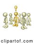 3d Clip Art of a Single Brass Person in a Group of Gold People, Thinking up a Creative Idea, with a Lightbulb over His Head by 3poD