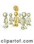 3d Clip Art of a Single Bronze Person in a Group of Gold People, Thinking up a Creative Idea, with Gears over His Head by 3poD