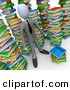 3d Clip Art of a Smart Businessman Doing Research in a Library Full of an Unorganized Mess of Colorful Stacked Books by 3poD
