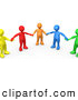 3d Clip Art of a Supportive Group of Colorful and Diverse People Holding Hands and Standing in a Circle by 3poD