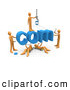 3d Clip Art of a Team of Five Orange People Constructing the Word Com, Symbolizing a Website Under Construction by 3poD