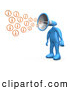 3d Clip Art of a Yelling Blue Person with a Megaphone Head, Blowing out Information Icons by 3poD
