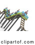 Clip Art of 3d Businessmen Riding on a Bumpy Roller Coaster by 3poD
