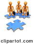 Clip Art of a 3d Orange Business People Standing on Connected Puzzle Pieces, Looking at a New Piece by 3poD