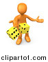 Clip Art of a 3d Orange Man Tossing up a Pair of Yellow Dice, Symbolizing Chance and Risk by 3poD