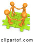 Clip Art of a 3d Orange People Holding Hands on Green Puzzle Pieces by 3poD