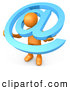 Clip Art of a 3d Orange Person Carrying a Large Blue Email Symbol by 3poD