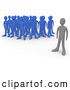 Clip Art of a Lonely Gray Person Standing Alone near a Crowd of Blue People, Symbolizing Leadership, Depression, Uniqueness, Etc by 3poD