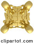 Clip Art of an Aerial View of 3d Gold People Holding Hands on Linked Puzzle Pieces by 3poD