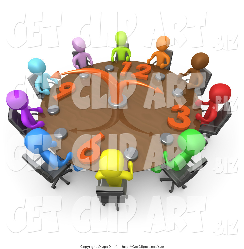3d Clip Art Of A Group Of Colorful And Diverse Busy People On A Tight Schedule Holding A Meeting About Labour Hours Around A Giant Circular Clock Conference Table By 3pod