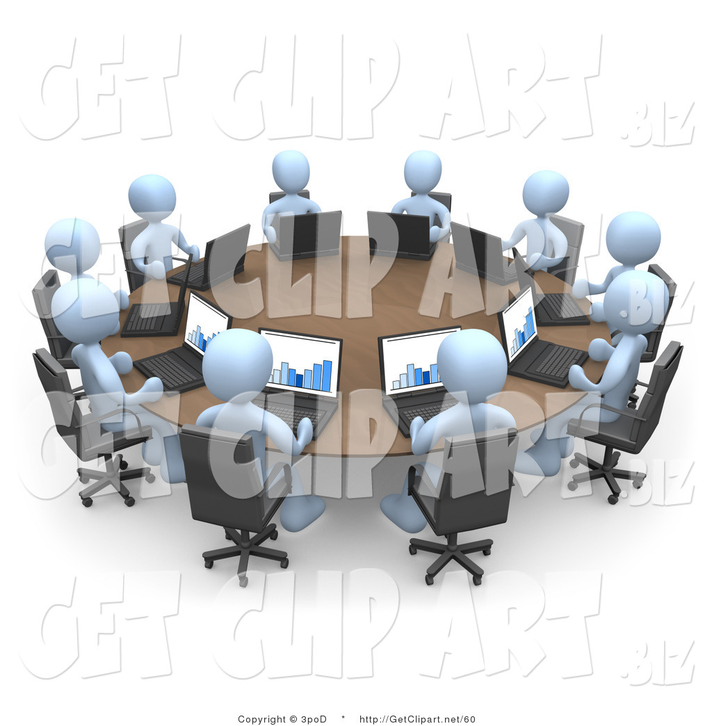 3d Clip Art Of A Group Of Ten Light Blue People, Students
