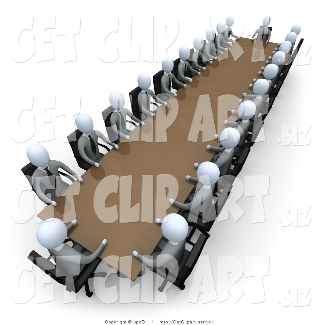 3d clip art of two rows of grey people holding a meeting for Meeting table design 3d