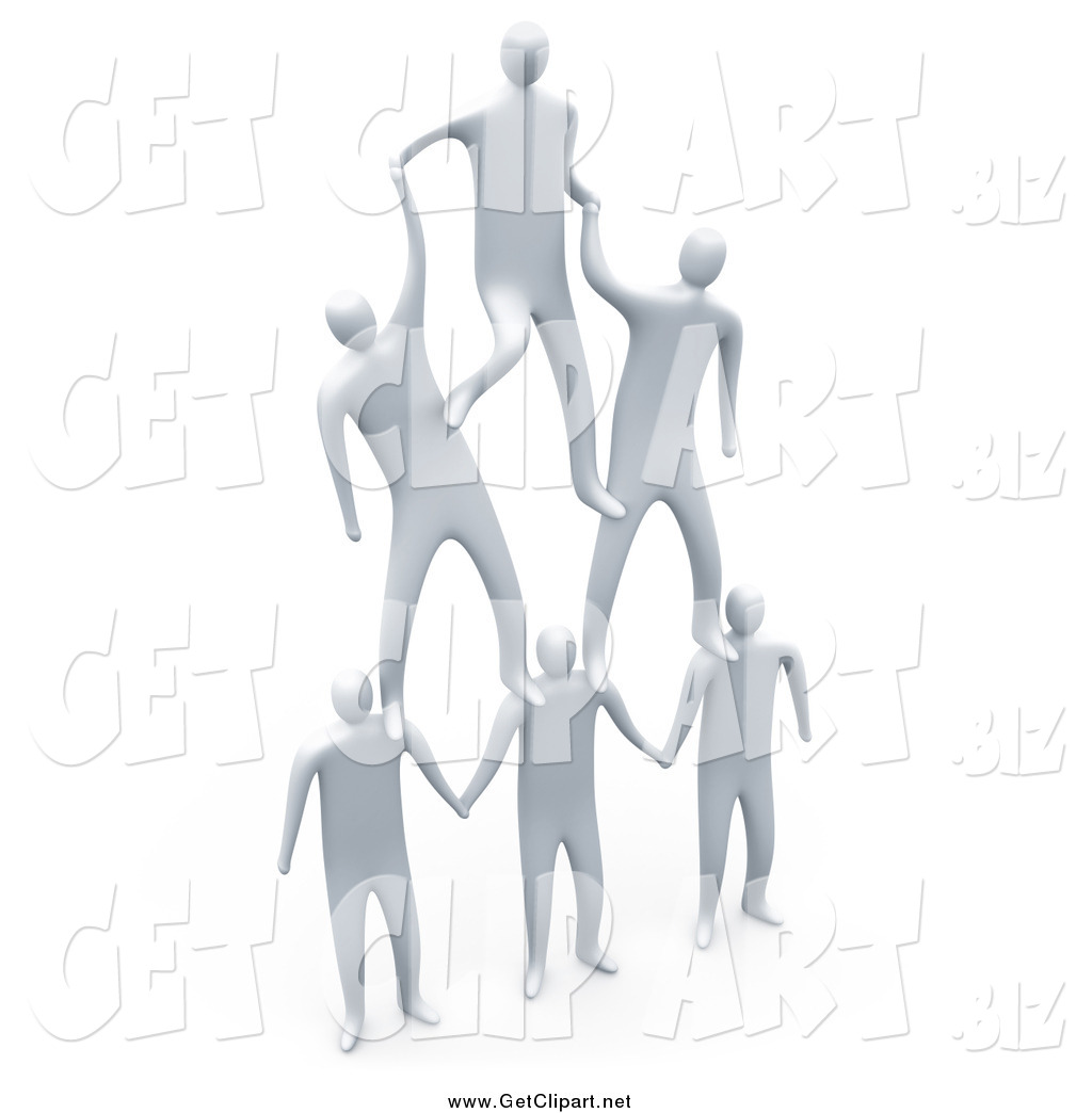 Clip Art of 3d White Men Forming a Pyramid Team by 3poD - #653